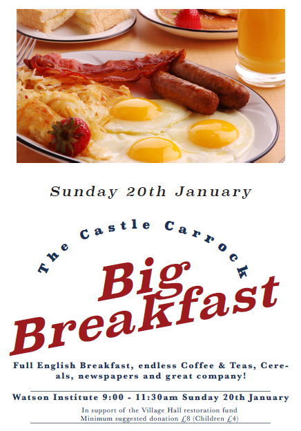 The Castle Carrock Big Breakfast on Sunday January 20th at 9am