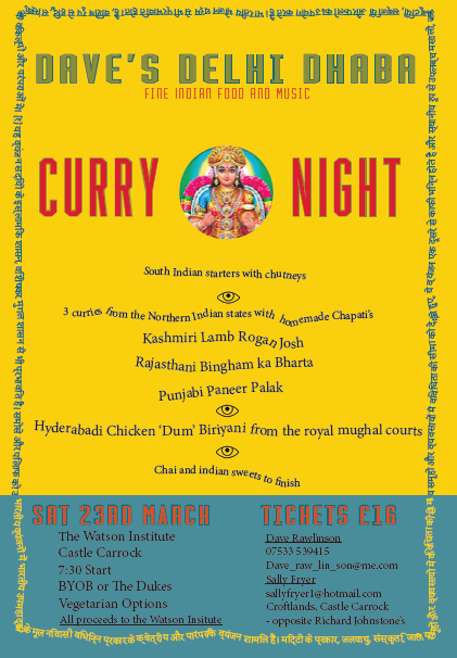 Dave's Delhi Dhaba - a Curry Night in The Watson Institute on Saturday March 23rd