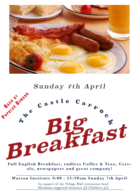 The Second Castle Carrock Big Breakfast on Sunday April 7th